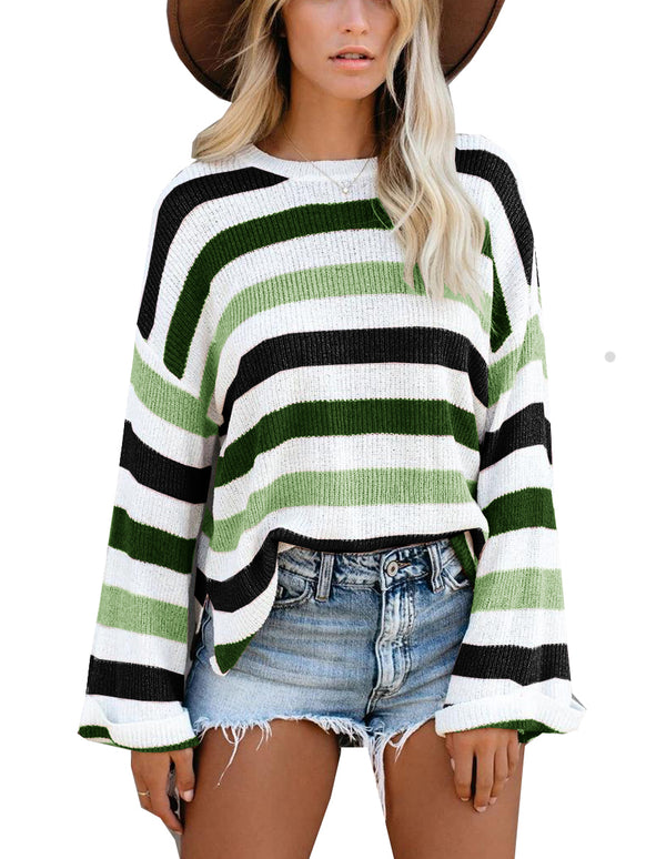 Knitted Stripes Casual Sweater