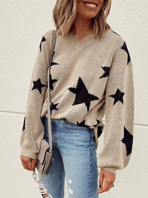 Women Stars Knitted Casual Sweater