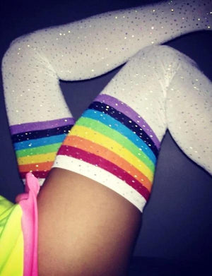 Glittering Rainbow Rhinestone Striped Over Knee Socks Rainbow Black