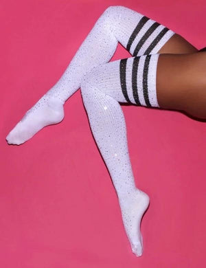 Glittering Rainbow Rhinestone Striped Over Knee Socks Blue Stripes