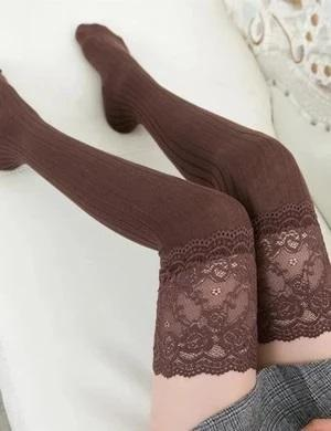 Knitted Lace Over Knee Long Thigh-High Socks