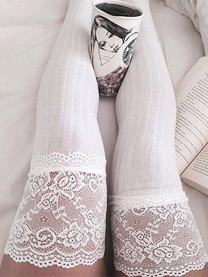 Lace Over Knee Long Thigh-High Socks