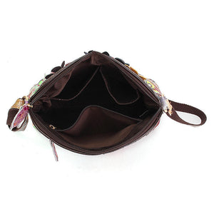 Women Floral Vintage Genuine Leather Crossbody Bag Girls Casual Shoulder Bag