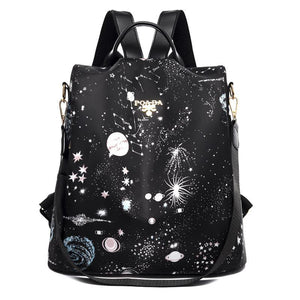 Cool Retro Multi-Functional Backpack-Bright Black