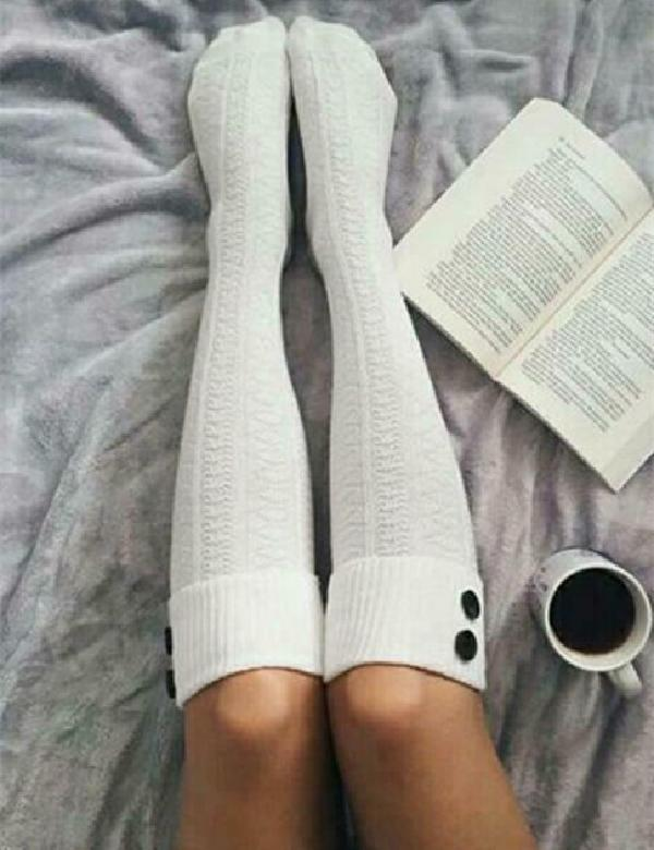 Knitted Long Thigh High Socks One Size