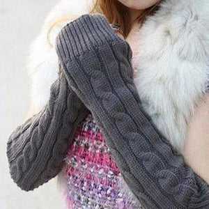 Over Elbow Fingerless Knitted Arm Warmer