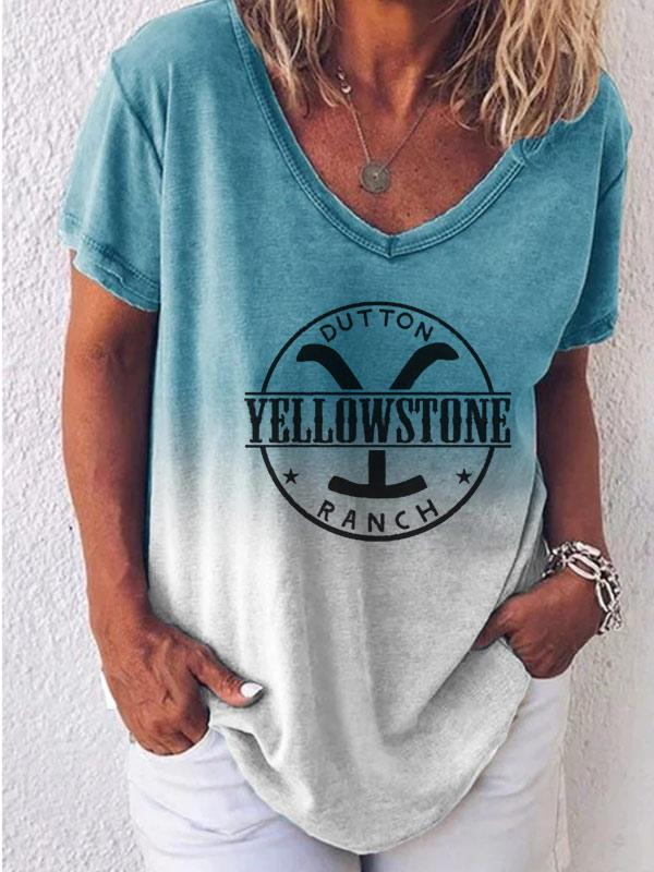 Ladies YELLOWSTONE Y DUTTON RANCH printed V-neck T-shirt