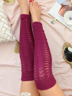 Women's Solid Color Long Knit Pile Socks