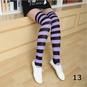 Over Knee Long Stripe Printed Cotton Plus Size Socks