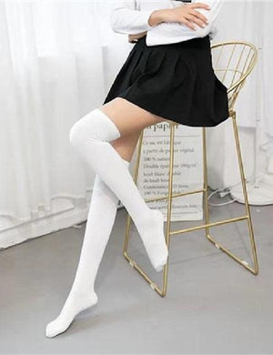 Thigh High Striped Cotton Over Knee Socks