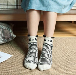 Striped Cartoon Animal Socks