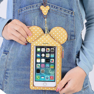 Touch Screen Cute Animal Shape Card Holder 4.7inch/5.5inch Phone Bag Coin Purse