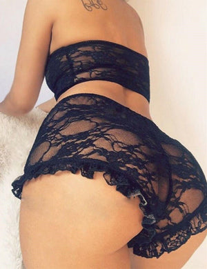 Sheer Mesh Heart Pattern Frill Hem Lingerie Sets
