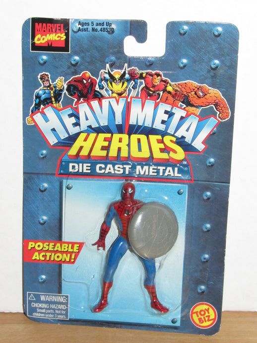 Toy Biz Marvel Heavy Metal Heroes Die Cast Spider-Man (Web Shield)