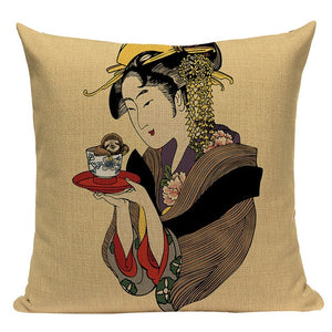 Retro Japanese Linen Cushion Covers - Series 2