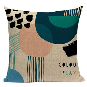 Abstract Linen Cushion Covers