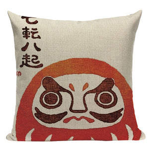 Japanese Woodblock Linen Cushion Covers
