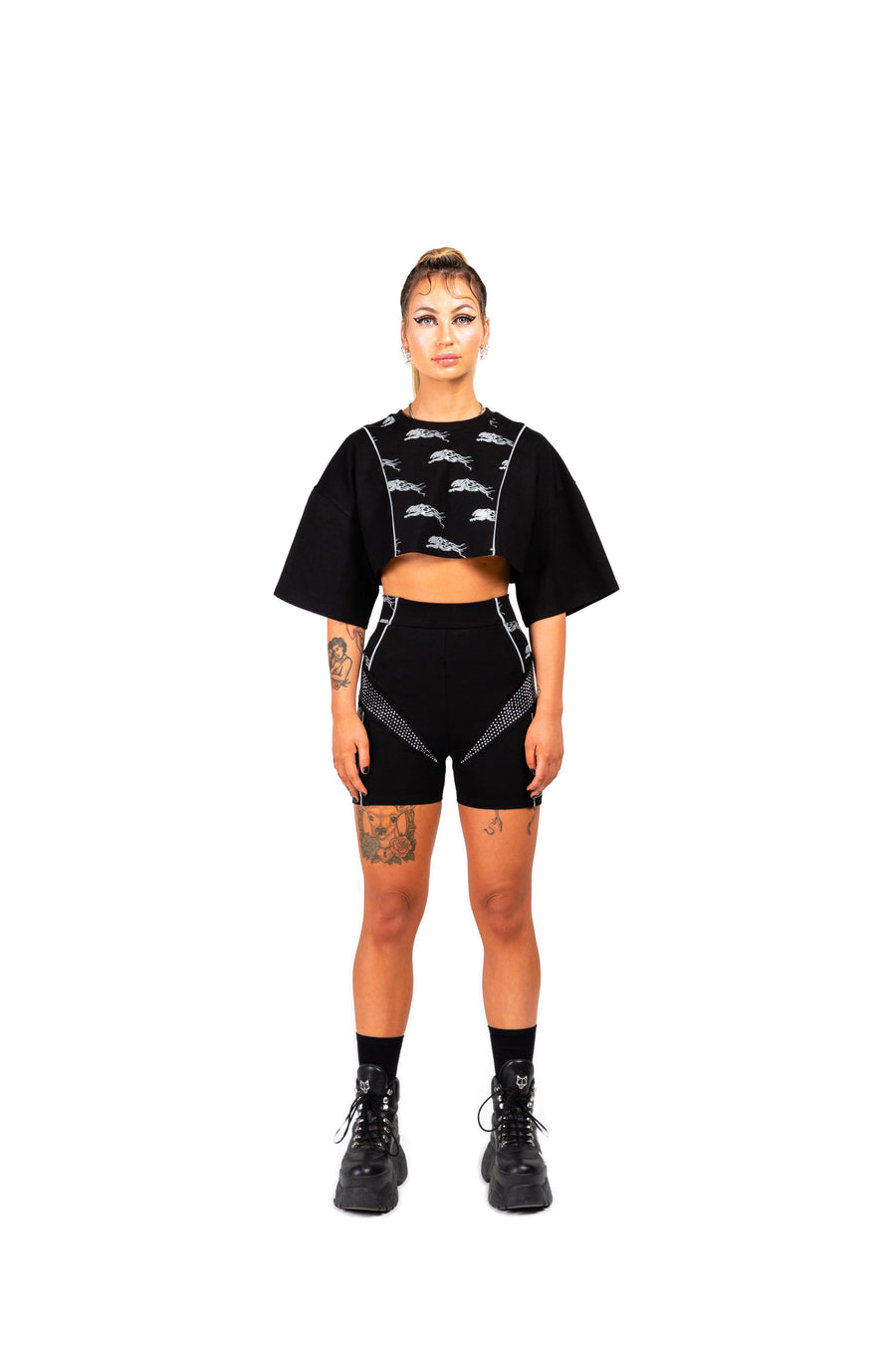 SAMPLE - LYNX CROPPED TEE - BLACK