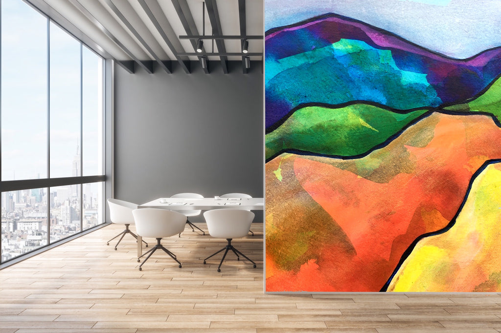 Office with colorful mural