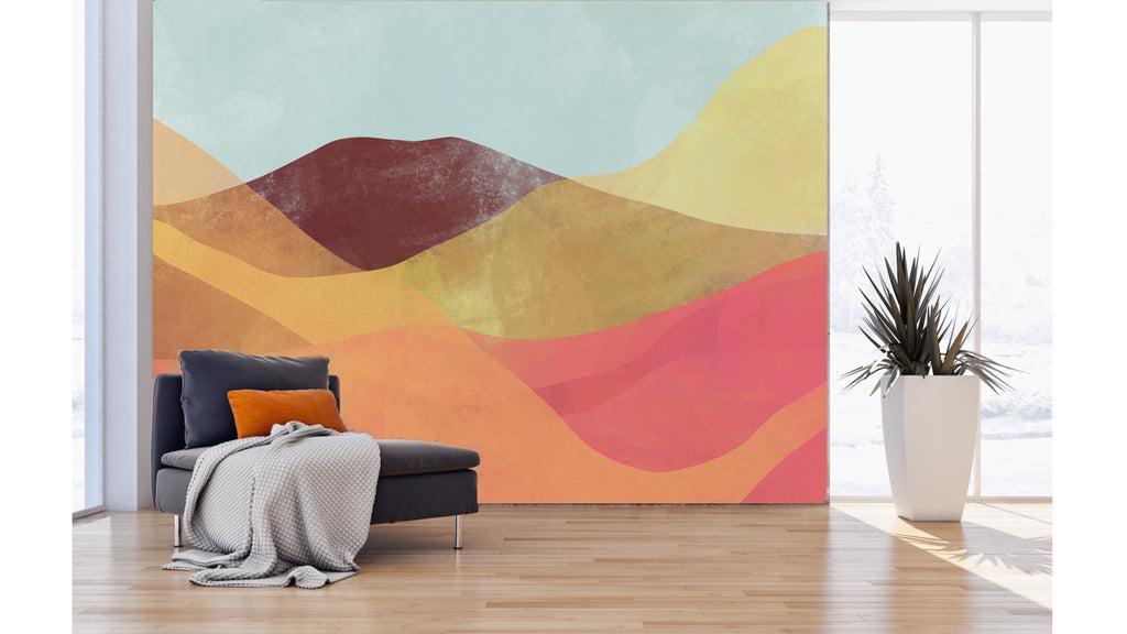A mural with warm color layers to form a desert