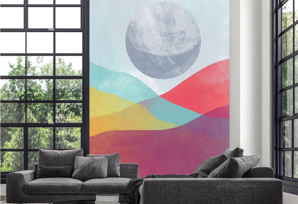 A mural with color layers under a full moon