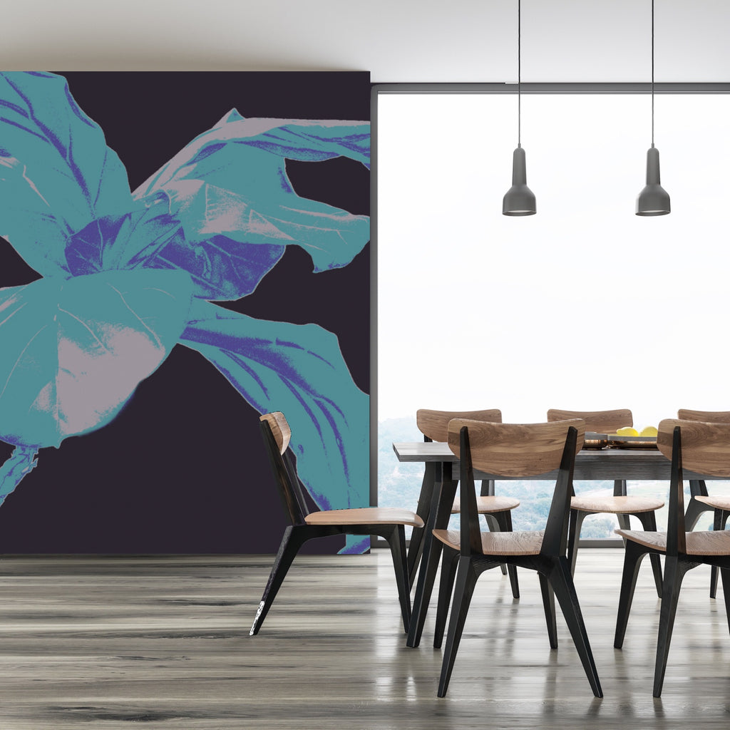 A custom wall mural of a large blue plant next to a dining table with chairs