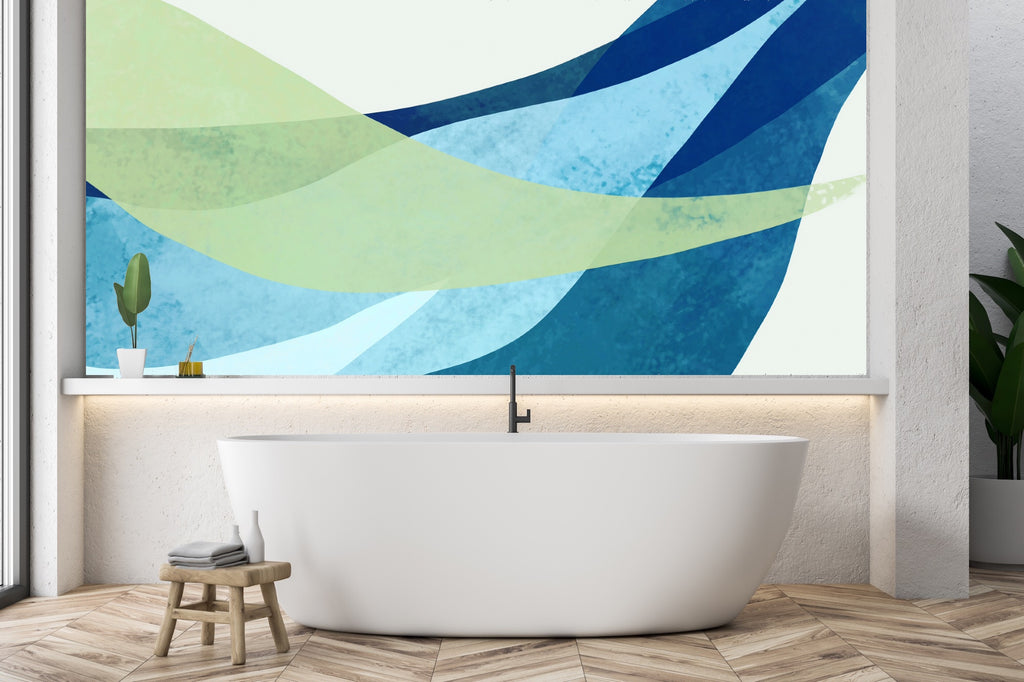 Bathroom with custom mural in blue and green