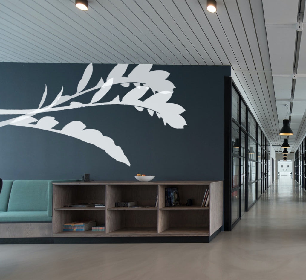 Office with mural of white leaves