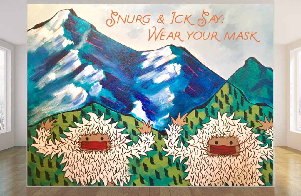 Mural of two yetis wearing face masks
