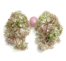 Load image into Gallery viewer, Delicate clusters of tiny white blooms form lung shapes  around my rose quartz heart