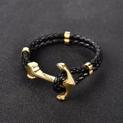 Anchor Clasp Braided Genuine Leather & Stainless Steel Bracelet
