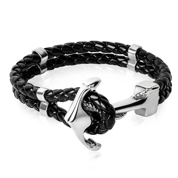 Anchor Clasp Braided Genuine Leather & Stainless Steel Bracelet True Voyage Apparel