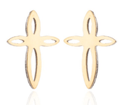 Christian Stainless Steel Cross Stud Earrings