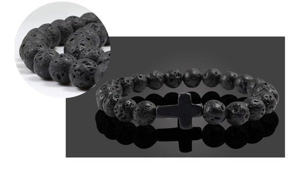 Natural Stone Cross Beads Bracelets True Voyage Apparel