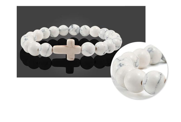 Natural Stone Cross Beads Bracelets