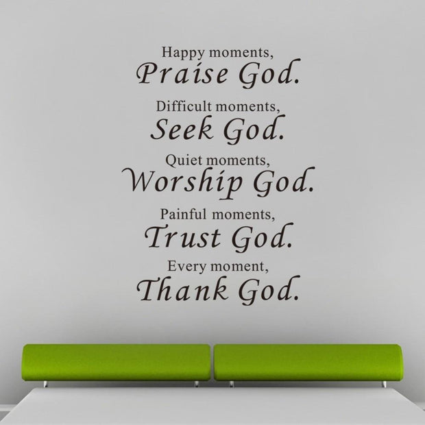 Praise Seek Worship Trust Thank God Vinyl Wall Decal True Voyage Apparel