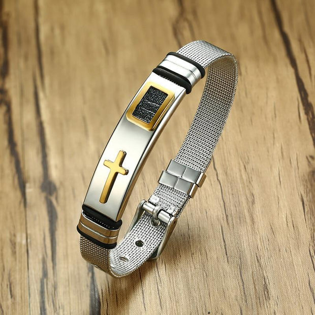 Stainless Steel Cross Bangle / Bracelet