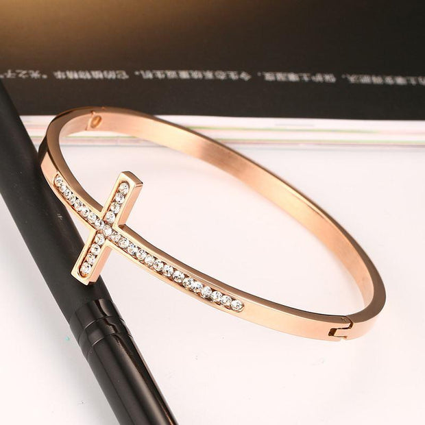 Women's Rose Gold Cross Bangles with CZ Stones True Voyage Apparel