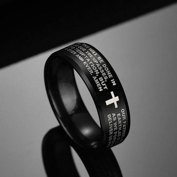 Stainless Steel Bible Prayer Rings 8mm