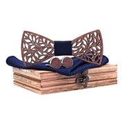 Men's Wooden Bow Tie Handkerchief Set