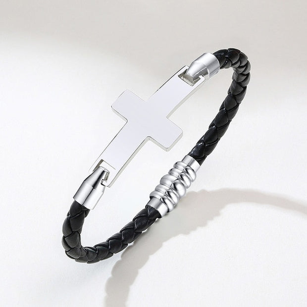 Cross Charm  Braided Leather Bracelet