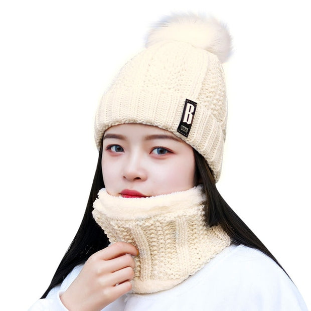 Women's Warm Scarf And Hat Two-Piece Knit Set