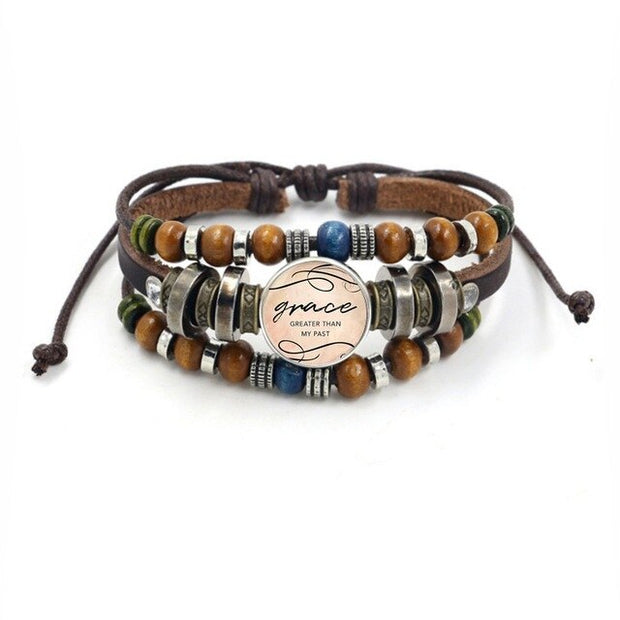 Vintage Bible Verse Multilayer Leather Bracelet