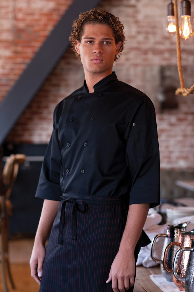 3/4 Sleeve Black Chef Shirt