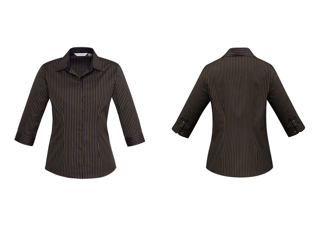 LADIES RENO STRIPE 3/4 SLEEVE SHIRT