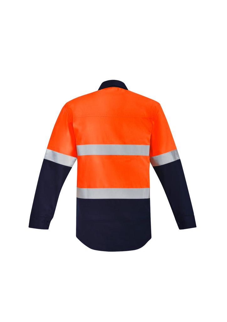MENS ORANGE FLAME HRC 2 HOOP TAPED CLOSED FRONT SPLICED SHIRT