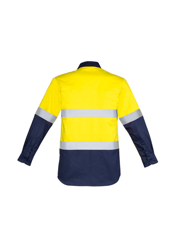 MENS HI VIS CLOSED FRONT L/S SHIRT - HOOP TAPED