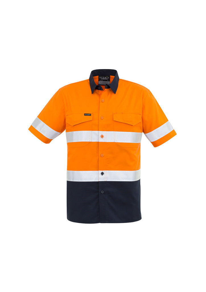 MENS RUGGED COOLING TAPED HI VIS SPLICED S/S SHIRT