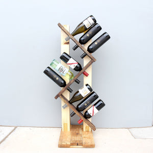 Recycled Pallet Wood Wine Rack 9 Bottle
