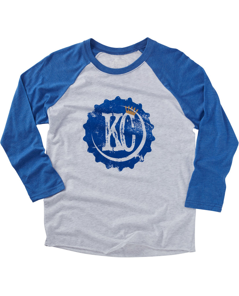 KC Bottle Cap Baseball Tee Blue